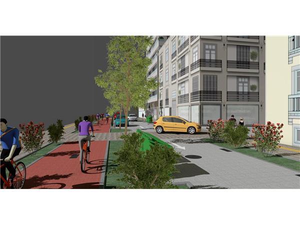 Αλλάζει εικόνα η οδός Ιουστινιανού στη Λάρισα με νέα πεζοδρόμια και ποδηλατοδρόμους